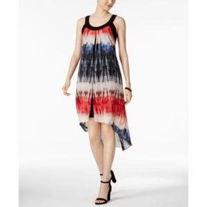 Red White Blue Tie Dyed Chiffon Dress Hi Low